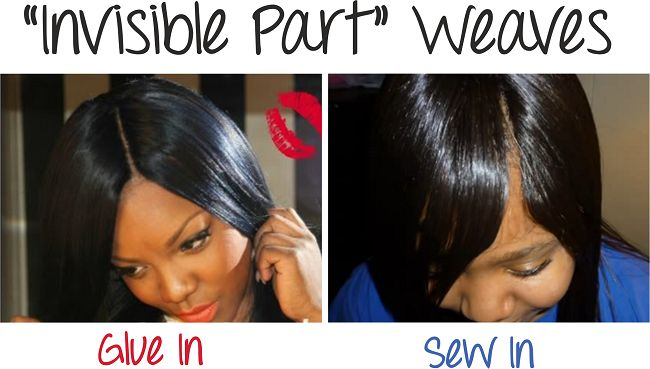 A post showing two methods of doing invisible part weaves. The glue method a sew in method and the benefits of each