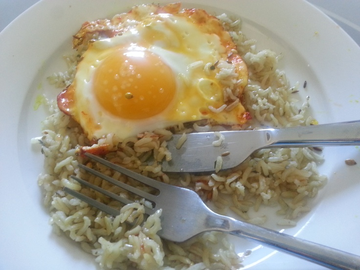 Spiced egg with basmati pilau rice. Fried in tiny amount of coconut oil. Absolutely gorgeous. Around 225 cals, mostly for the rice.