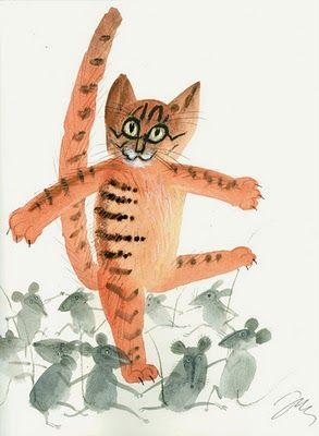 Orange cat by Józef Wilkoń
