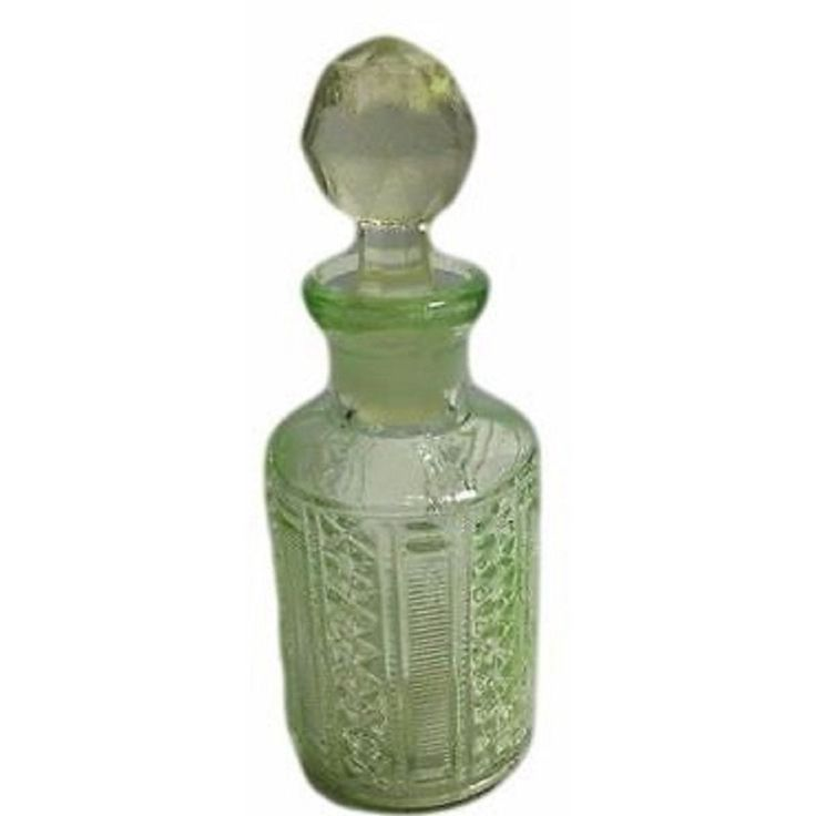Scailmont Art Deco Zipper Star Bottle, Dresser Top Decor, Vanity Decor, Shabby Chic Glass Perfume Bottle, Green Perfume Bottle Belgium