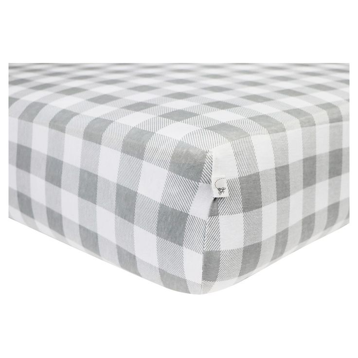 Burt's Bees Baby Organic Fitted Crib Sheet - Buffalo Check - Fog Gray