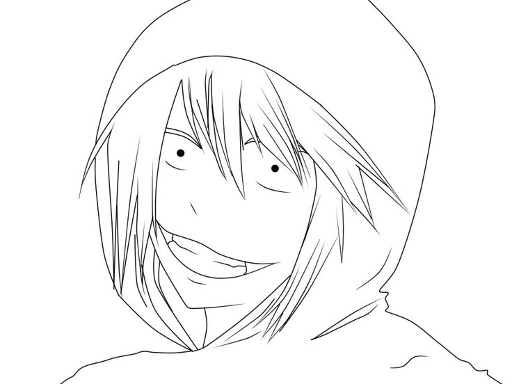 Creepypasta Jeff The Killer Coloring Pages Coloring Pages