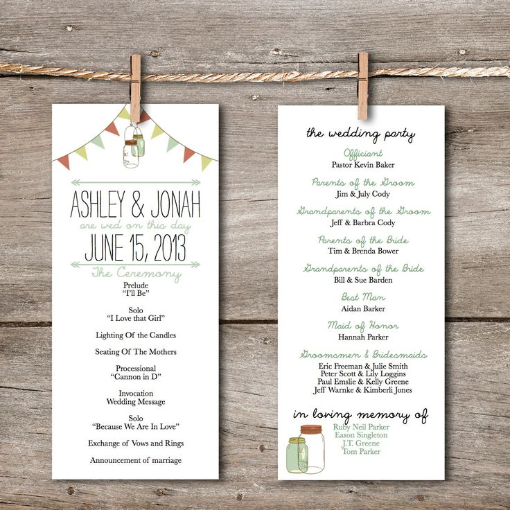 Printable Wedding Program Rustic Vintage Banner Amp Mason Jar DIY Downloadable Wedding Program