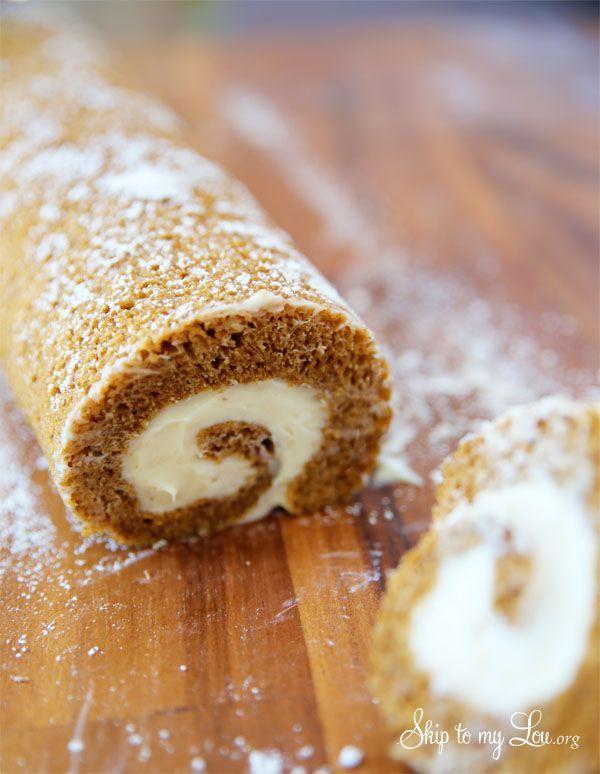 Pumpkin Roll dessert cake recipe and tutorial #recipe skiptomylou.org