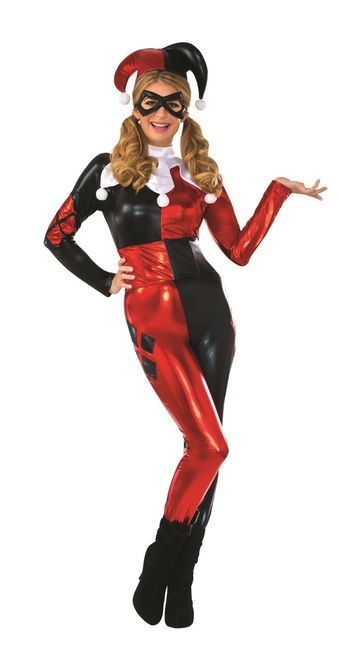 Harley Quinn Classic Designer Costume - Become the psychiatrist turned Super Villain with this amazing quality Harley Quinn costume! This fully licensed DC Comics costume is perfect from Batman Arkham City or all on her own. It comes with catsuit, hat, collar, eyemask and waist cincher. Become the Joker's sidekick with this fantastic Harley Quinn costume! #YYC #Calgary #costume #HarleyQuinn #Batman #Joker