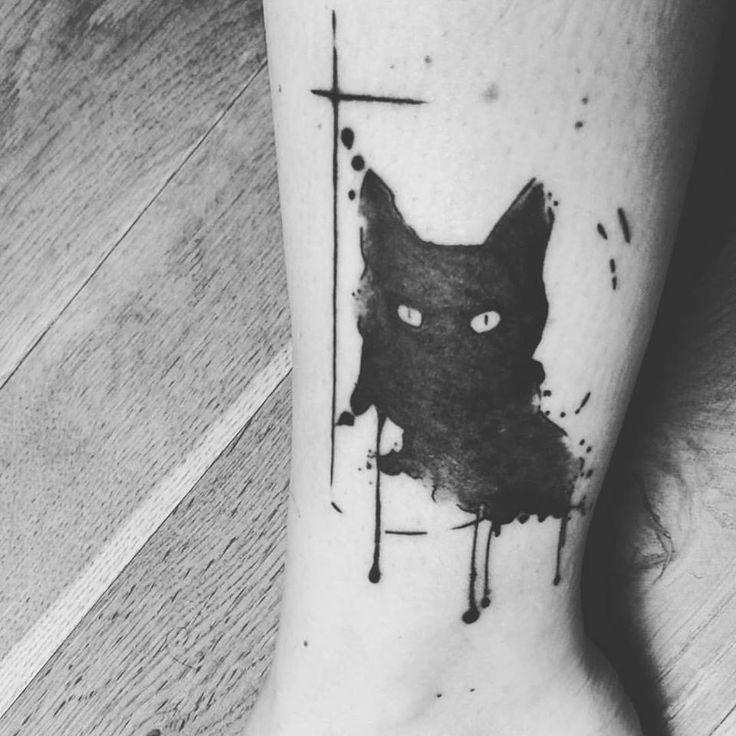 Chat noir tatouage fa on watercolor par promenade noire illustration pinterest watercolors - Tatouage chat noir ...
