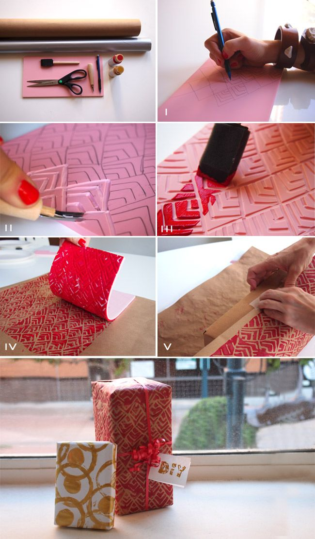 DIY: Holiday wrap: Stamp, Gift Wrapping, Wrapping Papers, Diy'S, Diy Gift, Wrapping Ideas, Diy Wrapping, Craft Ideas