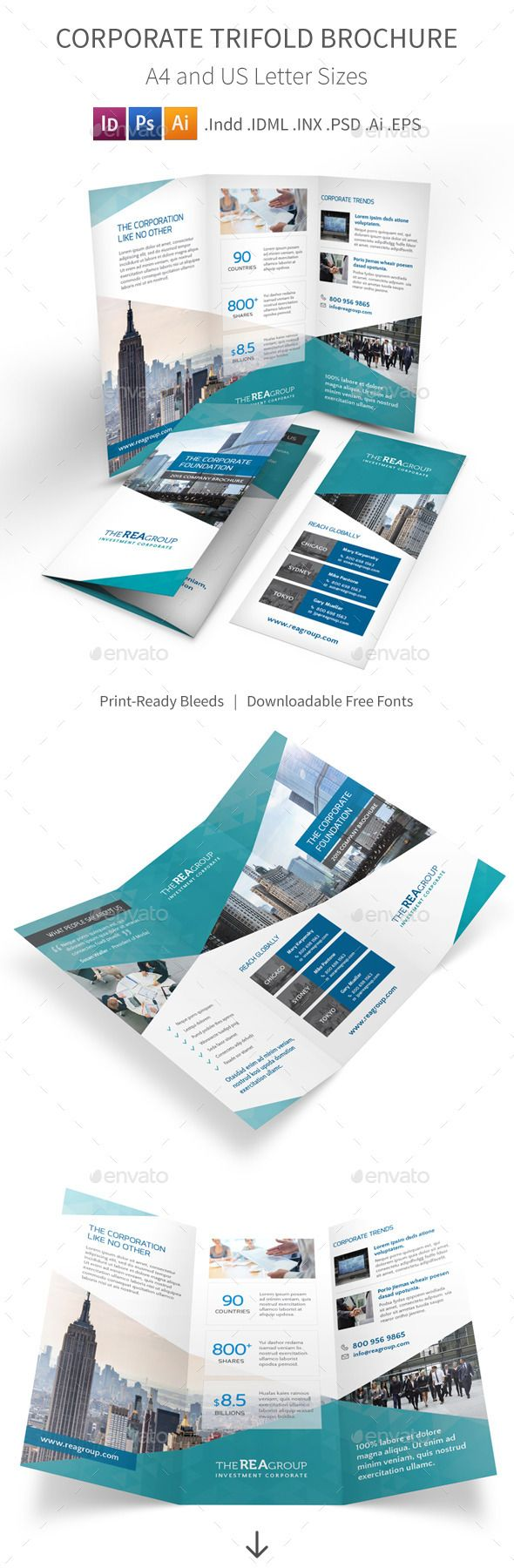Clean and modern tri-fold brochure for your corporate company and business. Download: http://graphicriver.net/item/corporate-trifold-brochure/11023834?ref=ksioks