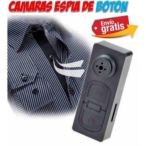 Video camaras espia ocultas en boton de camisa. Gadgets espionaje, seguridad y vigilancia.