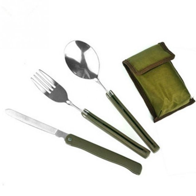 Fair price Multi-function Stainless Steel Army Green Folding Cutlery Set Portable Cutlery Set with Pouch Cooking Survival Camping just only $2.64 with free shipping worldwide  #dinnerware Plese click on picture to see our special price for you