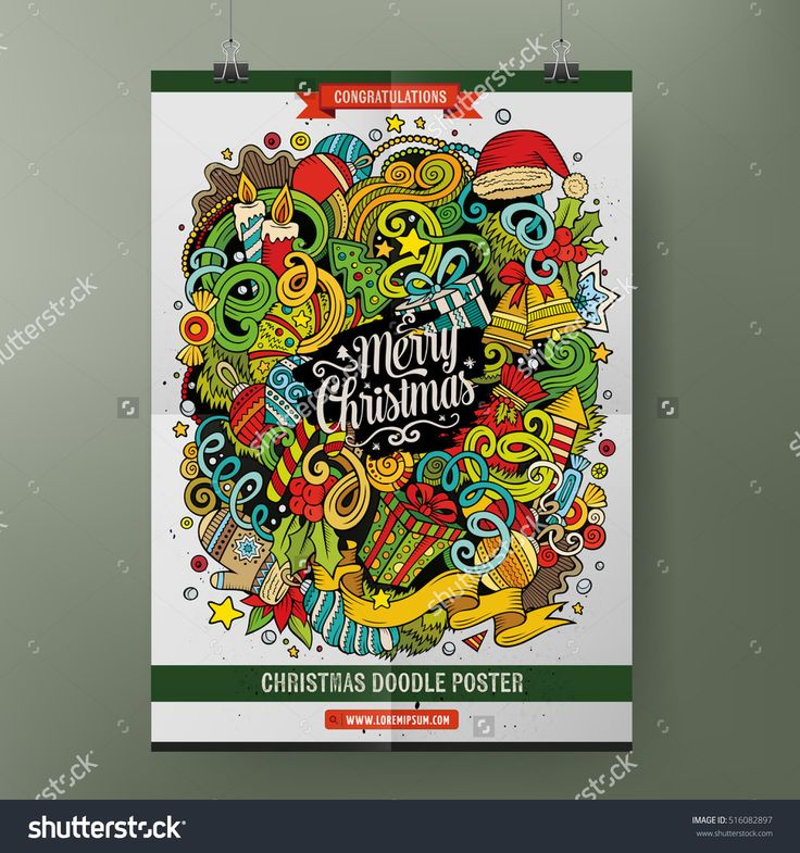 Cartoon colorful hand drawn doodles Happy New Year poster template. Very detailed, with lots of objects illustration. Funny vector artwork. Corporate identity design