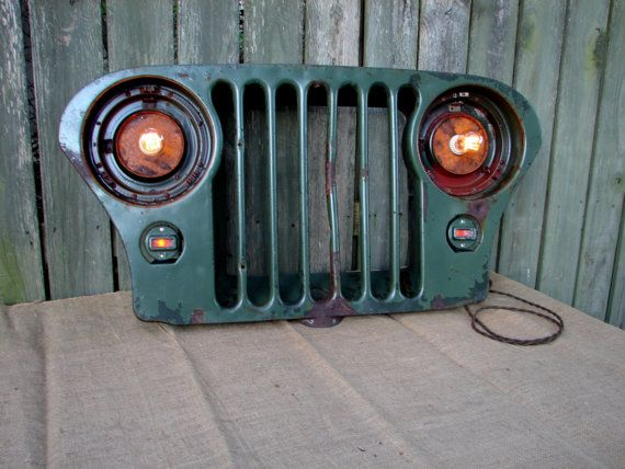 Upcycled Vintage Jeep Grill Lighted Wall Decor Vintage