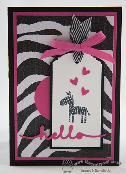 hand crafted greeting card from The Crafty Owl blog of Joanne James ... black and white wth pops of hot pink ... tag focal point ... zebra print paper background matches the baby zebra ... luv it! ... Stampin' Up!
