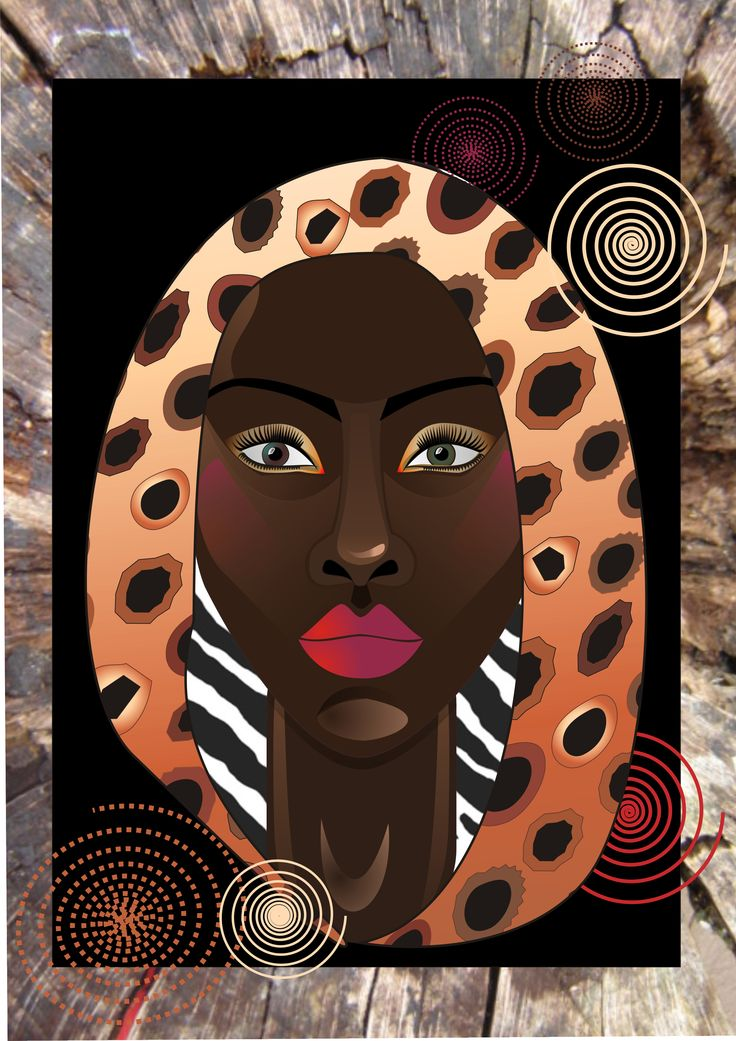 wood lady 25 african art illustration.