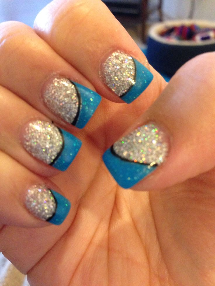Blue/silver sparkle nails!!! | Prom nails | Pinterest ...