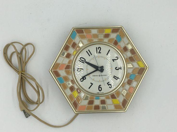 Vtg Midcentury GE Faux Tile Mosaic Hexagon Retro Electric Wall Clock 2118-A SE