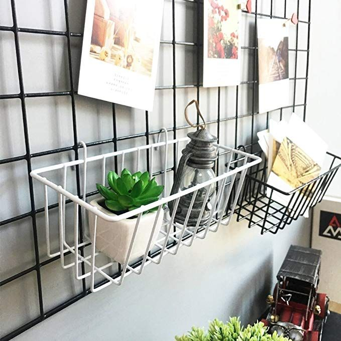 Anzome White Mesh Wall Metal Wire Basket Grid Panel Hanging Tray Wall Mount Organizer Wire Storage She Wire Storage Shelves Baskets On Wall Wire Wall Basket