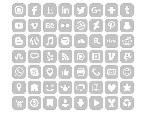 Square Gray Social Media Icons Set Png Svg Vector Etsy Social Media Icons App Store Icon Iphone App Design