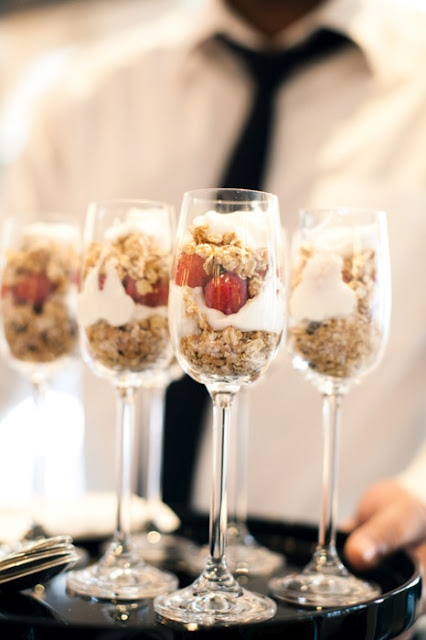 parfait in champagne glasses- perfect for the morning of the wedding