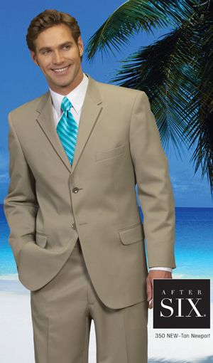 After Six  Tan  Two Button Notch Suit  Not that tie.