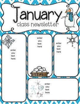 January Kindergarten Newsletter Template on cixi angel, for plants, end year, things practice, fair use, december gingerbread,
