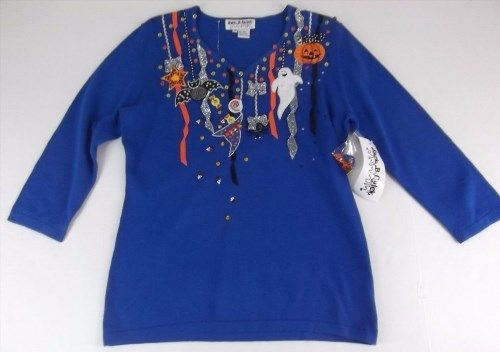 37.99$  Watch now - http://viiqb.justgood.pw/vig/item.php?t=y10cq541508 - New Jack B Quick Halloween Sweater Medium Cobalt Blue Embellished 37.99$