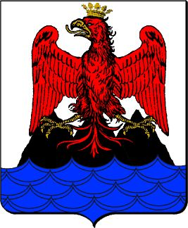 Arms of Nice, France In use since roughly 1430 Blazon: Argent three mounts sable issuant from the sea in base azure, perched thereon an eagle displayed gules, beaked, legged, and crowned or