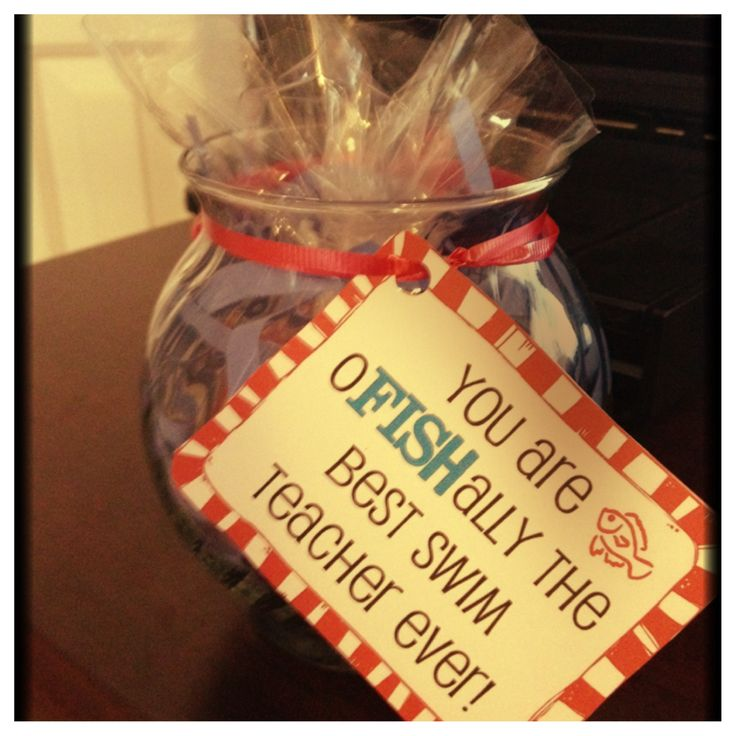 Swim teacher thank you gift under 5 glass fish bowl from for Dollar tree fish bowls