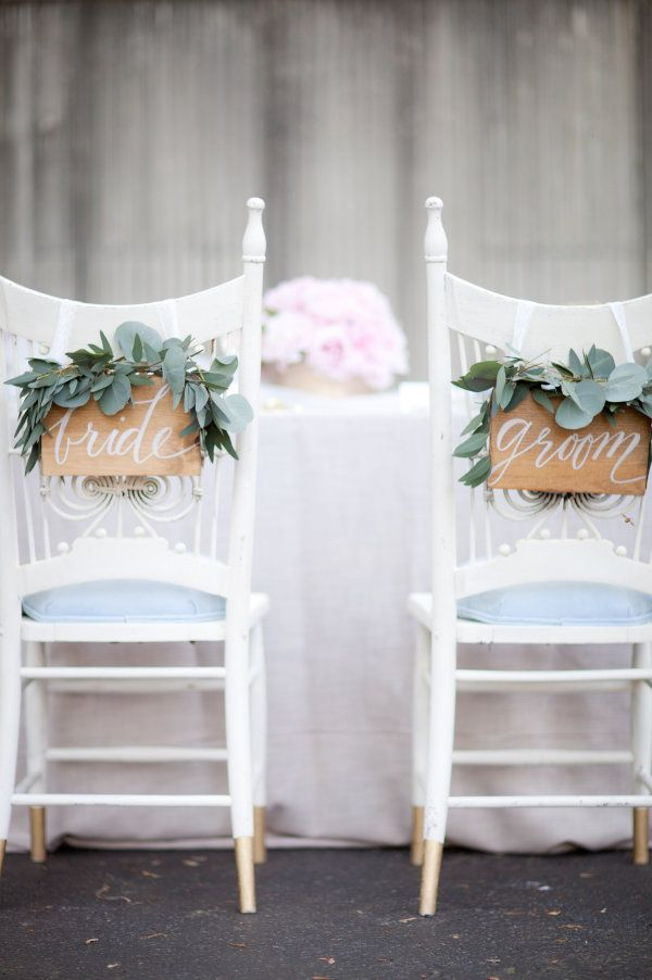DIY wooden bride and groom chair sign decor ideas