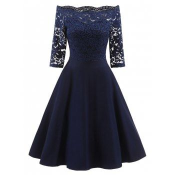 SHARE & Get it FREE   Lace Off The Shoulder Vintage Flare DressFor Fashion Lovers only:80,000+ Items·FREE SHIPPING Join Dresslily: Get YOUR $50 NOW!