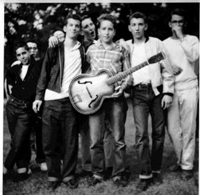 ♡♥Bob Dylan 16 in 1957 with Louie Kemp at Camp Herzl - from left to right - Larry Keegan, Bob Dylan and Jerry Waldman♥♡