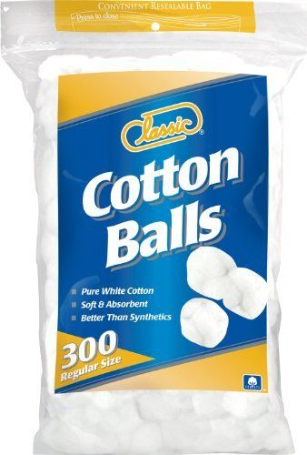 Classic Cotton Balls Regular Size, 300 Count by Classic. $1.58. Better than synthetics. Soft and absorbent. Pure white cotton. Classic cotton balls are soft and gentle to all skin types.  They are perfect for the removal of make-up and nail polish.  Use to apply oils, powders and lotions to baby's delicate skin.  Soft, safe care for cleaning baby's eyes, ears and nose.  Cotton rounds are useful for everyday clean up, polishing, and for use with hobbies and crafts.  U.S. cotton, ...