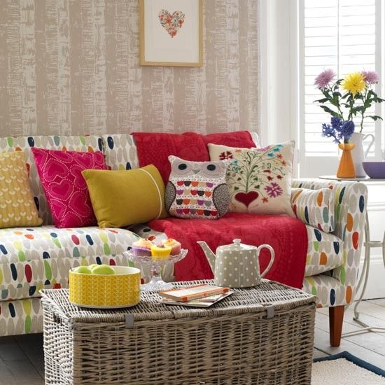 Scandi-style living room. Fabric on sofa from Laura Ashley.