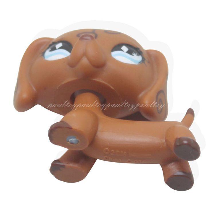RARE Littlest Pet Shop Brown Dachshund Dog Puppy Diamond Eyes Animal LPS #640