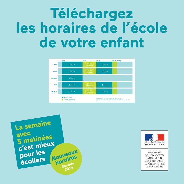 Sur 5matinees.education.gouv.fr/, téléchargez les horaires de l'école de votre enfant