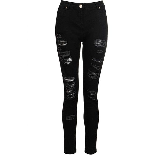 Black Denim Ripped Skinny Jeans (446.425 IDR) ❤ liked on Polyvore featuring jeans, bottoms, pants, skinny leg jeans, denim jeans, destructed jeans, destroyed jeans and distressed jeans