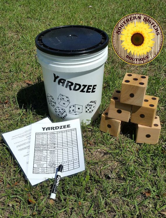 Yardzee! A life size yard game! This set is perfect for camping, barbecues, parties, or family fun.  Each set includes the bucket, 5 dice, laminated scorecard and instructions, and dry erase marker. The dice are made of cedar, are approximately 4x4, and are wood burned.  *** The buckets only come in white. The dice are left natural and the dots are burned into the wood. I do not offer color dice at this time.***  *** My Yardzee sets are ready to ship! *** The entire set (dice and bucket)…