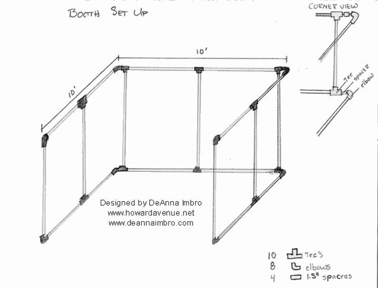 My diagram for a pvc pipe craft booth. Use, share and give