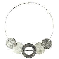 Sterling silver choker necklace, 'Eclipses'
