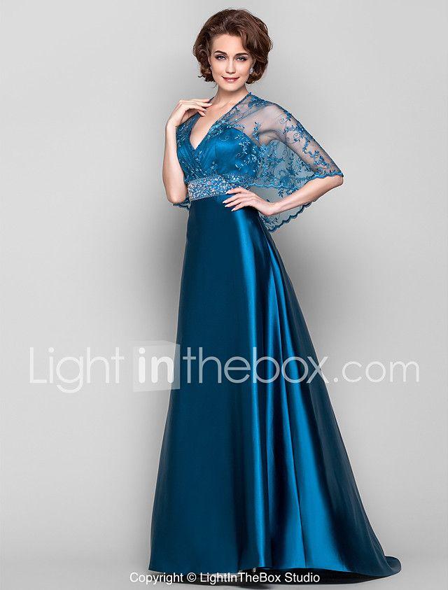 Vestido - Azul Tinta Corte Recto Barrer / cepillo tren - Escote en V Encaje/Satén Elástico 2018 - $2450.71