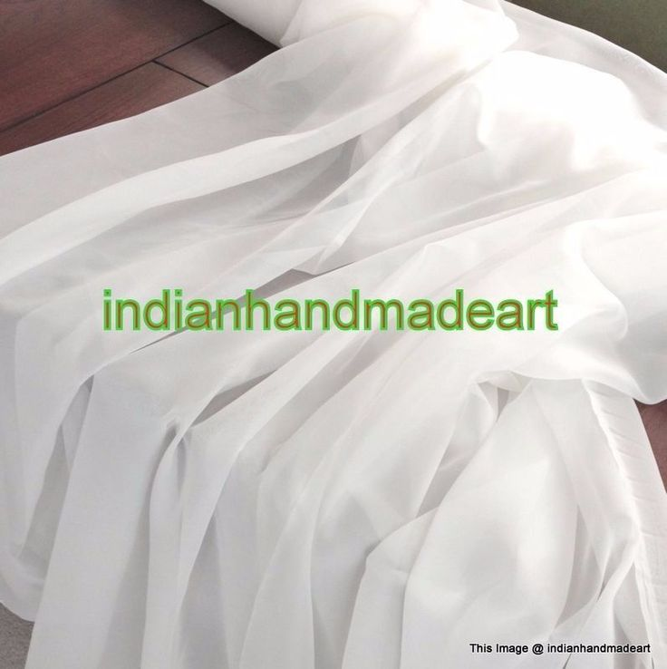 10 Yard Indian Light Weight 100% Cotton Voile Fabric Solid White Plane Fabric #KhushiHandicraft