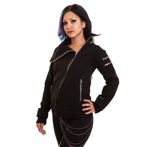 Wolven jacket vest met ritsen en corset detail zwart - Gothic