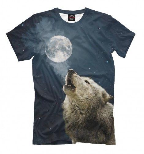 Одинокий вой в ночи. Футболки с принтом животных. Волк воет на луну на фоне звездного неба. Высокое качество принта, полная запечатка изображения по всей поверхности ткани. Принт не трескается и не застирывается! #wolf #moon #t-shirt