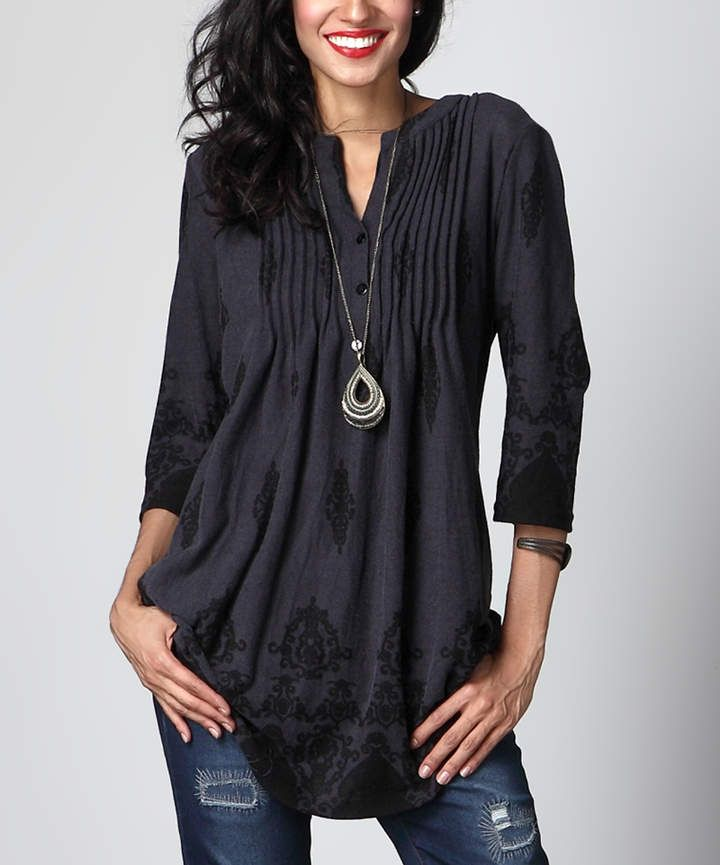 4512089f301 More colors. Charcoal Damask Notch Neck Pin Tuck Tunic at Zulily ...