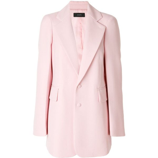 Joseph classic fitted blazer ($1,050) ❤ liked on Polyvore featuring outerwear, jackets, blazers, pink, joseph blazer, fitted jacket, fitted blazer jacket, pink blazer jacket and light pink jacket