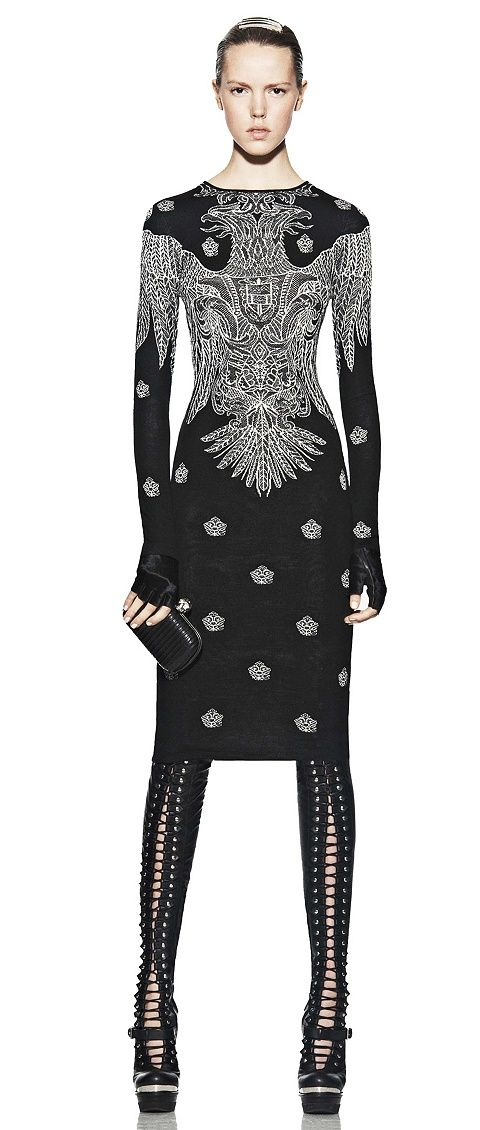 Alexander McQueen double headed white eagle etching on black body con dress