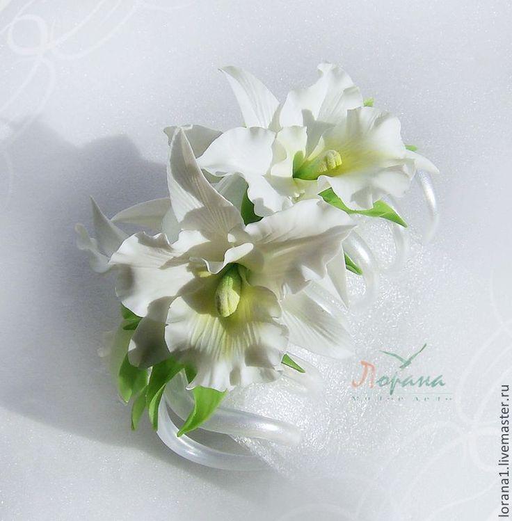 """Купить Заколка-краб """"Орхидеи"""" - заколка, заколка для волос, заколка с цветами, цветы из полимерной глины"""