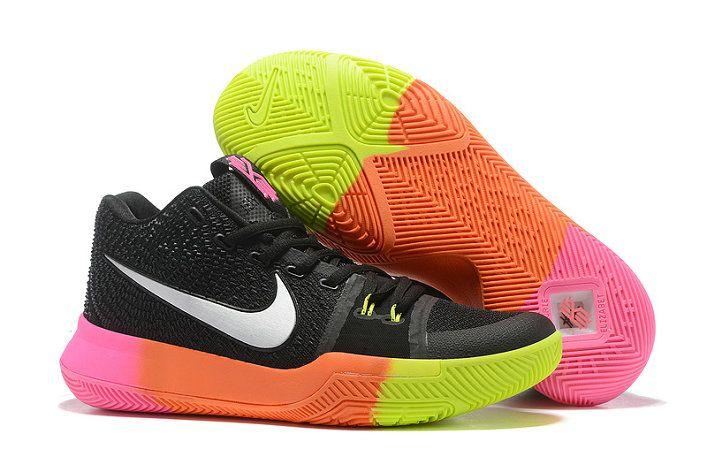 Mens Original Nike Zoom Kyrie 3 Basketball Shoes Coal Black White Rainbow 2b71f79db8