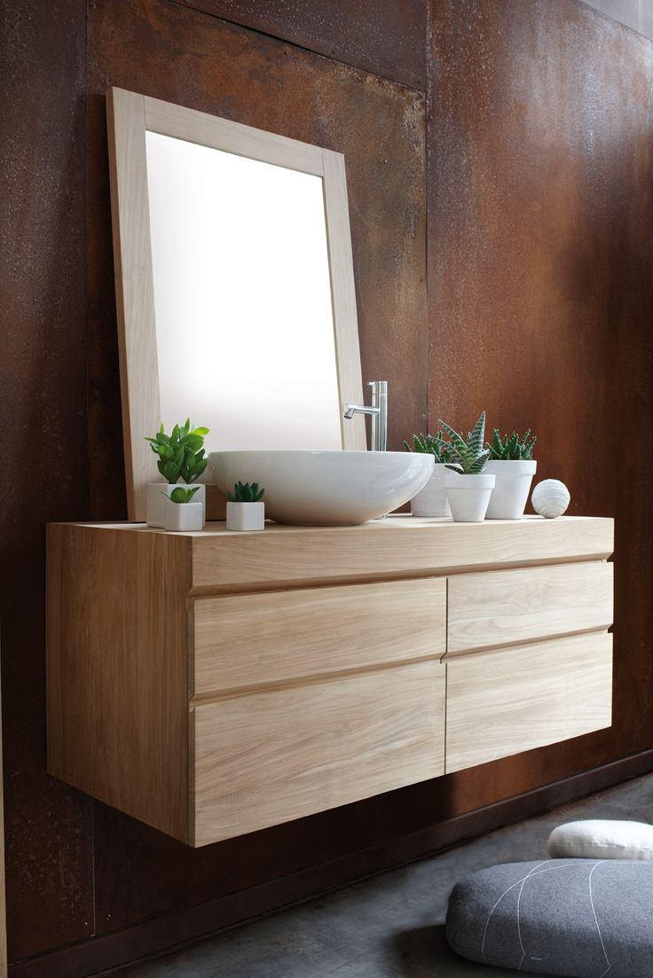 The clean lines of this contemporary range of wall hung basin units gives a minimalist feel to the modern bathroom. These basin units are available in 3 sizes to accommodate one or two basins and feature storage drawers with a soft close mechanism. In addition there is a matching cloakroom cupboard unit designed to give even the smallest space a luxurious feel. All units are available either in a natural teak or choice of oiled finishes.