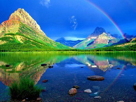 青い空に虹 レインボー 自然 高解像度で壁紙